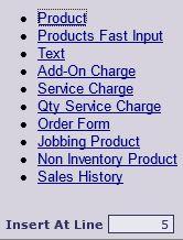 Order Line Options