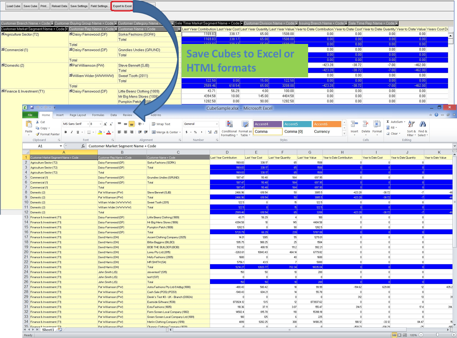 Cube Export To Excel
