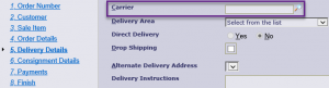 Delivery Details Carrier Entry